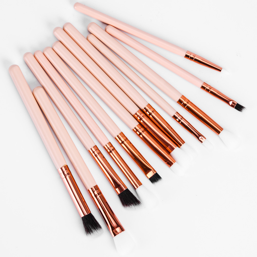 Wholesale Cheap Eyeshadow Beige 12 pcs Make up Brush Set Cosmetic
