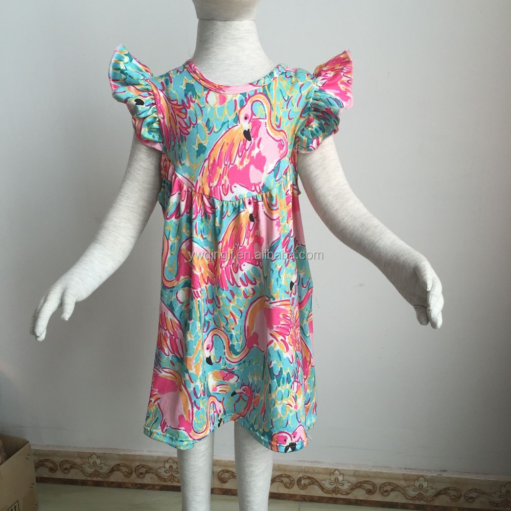 2016 latest design baby boutique flamingo printe pearl dress baby preal dress