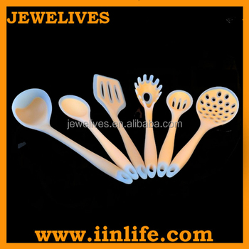 Durable cute pink 6 piece silicone kitchen utensil set