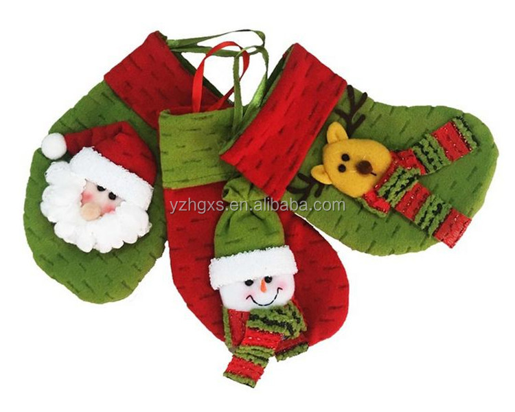 Red and Green Lovely Snowman & Santa with scarf Christmas stocking for decoration