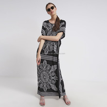 Indonesia style free size Women Summer Beach Wear Maxi Tile Print Dresses for woman