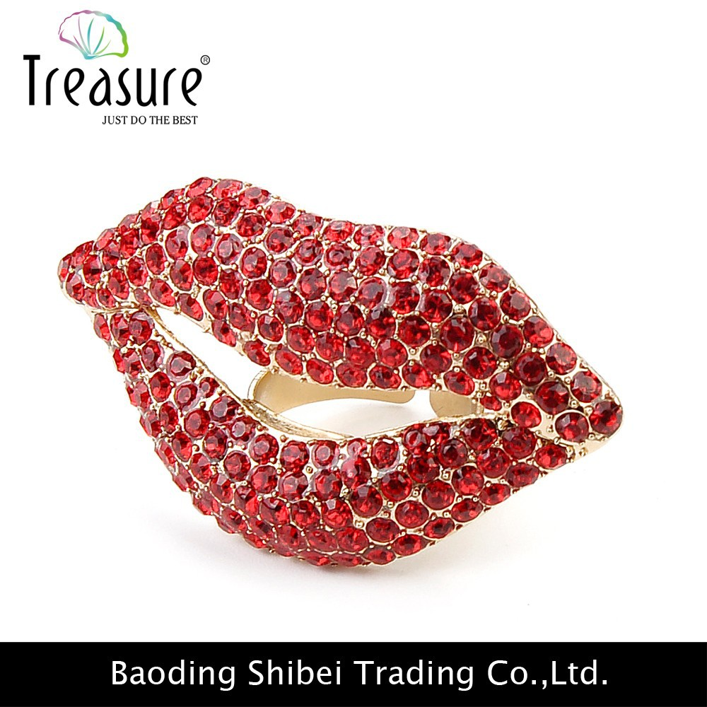 Cute Lips multicolor crystals fashion rings 2015 fashion jewelry women brand cute zinc alloy rings birthday gift RG02365