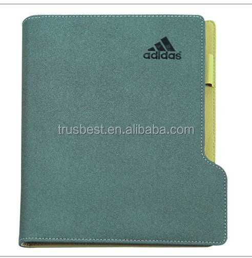 Fashionable exercise note book, high quality notepad with pen , leather note book for business
