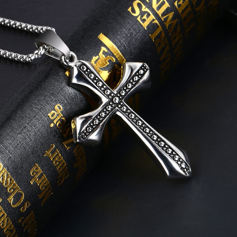 Church Supplier Stainless Steel Religious Gold Jesus Piece Cross Pendant Necklace