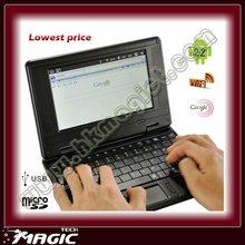 China 7 inch mini android 2.2 or WinCE 7.0 low price laptops