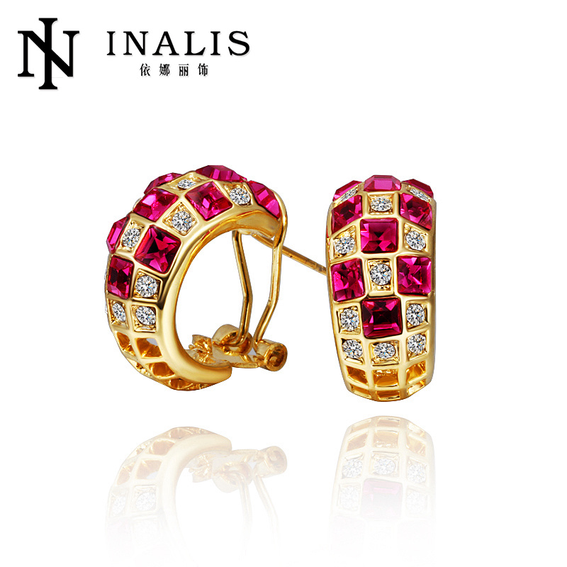 Stunning micro pave gold tone nickel free clip on earrings with ruby