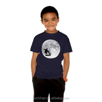 skating moon black cotton/polyester o neck kids led t-shirts bulk