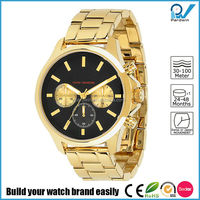 gold stainless steel semi-solid band band watch