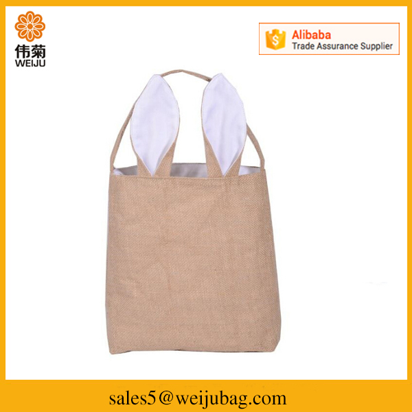 Wholesale lovely rabbit reusable canvas shopping tote bags