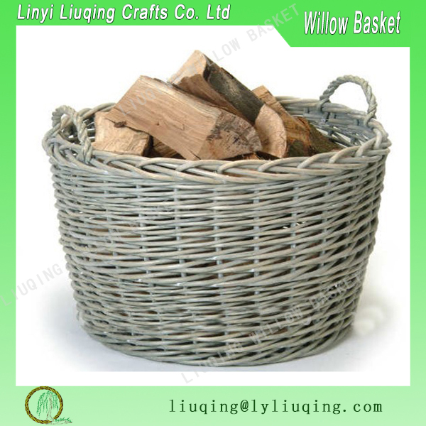 Large rattan Fire Log Basket