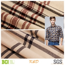 yarn dyed polyester cotton woven twill brushed flannel clothing fabric price