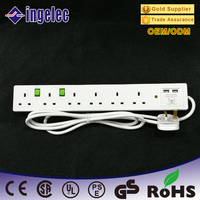 Best Quality 250V UK Type 6 Way USB Electrical Extension Socket with Anti - Interference Design