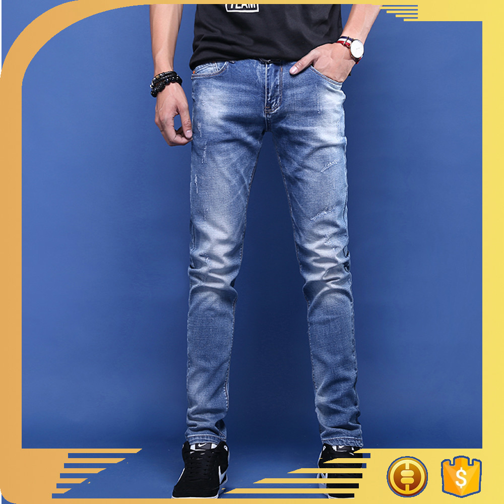 2017hot new product OEM service grinding machine monkey washed men straight jeans professional pants wholesale china manufactory