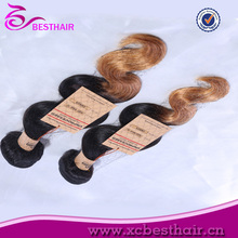 New Arrival Virgin Remy cheap brazilian two toned body wave ombre color synthetic hair