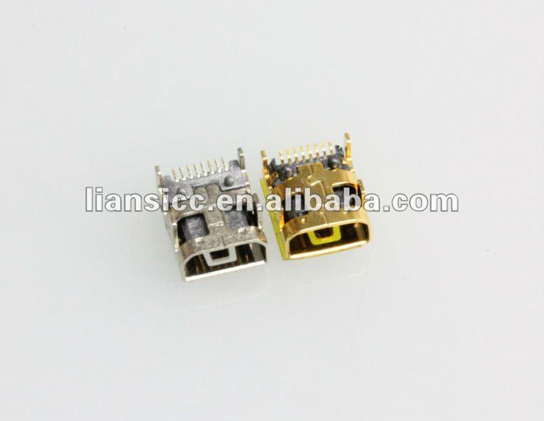 8pin female SMT 90degree Mini USB connector
