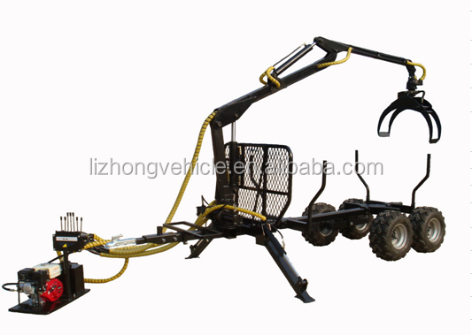 6.5hp 1.5Ton max load 300kgs Lifting capacity log loader with trailer,atv log trailer,log loader trailer