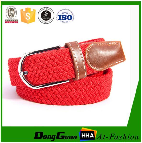 Colorful Elastic Braided Stretch Belt with Silver Belt Buckle
