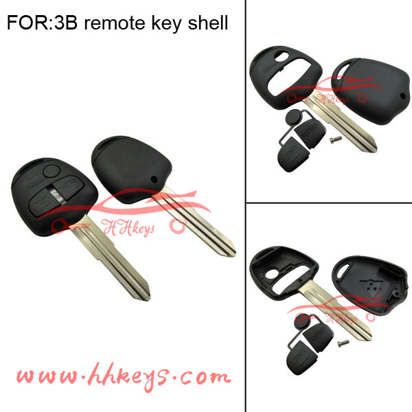 Original right side key blade Mitsubishi car 3 button remote car key case cover without logo