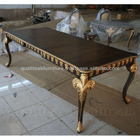 Antique Victorian Dining Table With Gold Leaf Finish On Carving Detail
