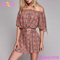 women off shoulder printed top clothing set with sexy mini skirt