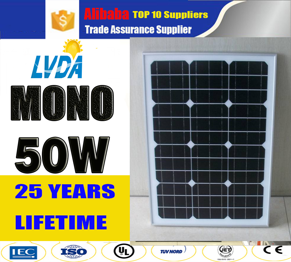 the lowest price CE monocrystalline silicon material 50w solar panel 50watt poly/ mono cells pv module