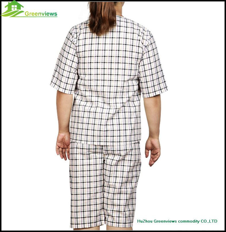 Hot selling Women Nightwear Pajama Set 100% Cotton Satin short Sleeve round Collar Sleepwear Pajama GVXF0009
