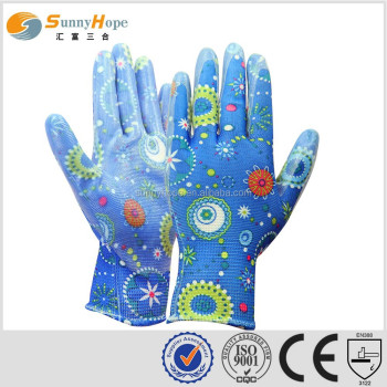 sunnyhope cheap ce safety gloves,nitrile coated palm gardening gloves