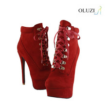 OlzB04 New Design Winter High Heel Platform Ankle Boots Women Shoes