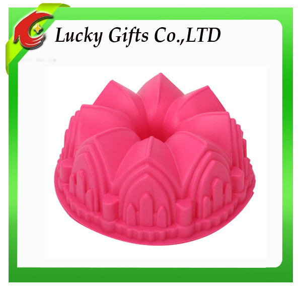 Custom Round Shaped Durable bakery tools castle silicone cake mold