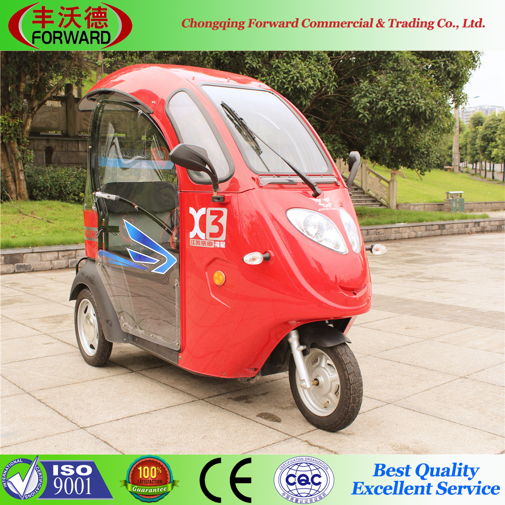 2015 hot sale 60V 800W mini electric tricycle with plastic cabin