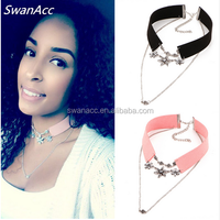 New Fashion Crystal Flower Tattoo Choker Necklace for Women Black and Pink Velvet Vintage Leather Necklaces Collar Jewelry