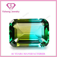 High Quality Man-made Emerald Cut Colorful Shining Glass Chaton Stone