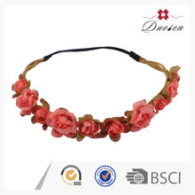 Hawaii Floral Plastic Weave Rose Flower Crown Hair Accessories
