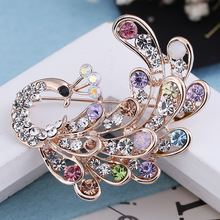 Fancy Brooch Pin Colorful Crystal Rhinestone Brooch Korean Brooch Rose Gold Plated for Women