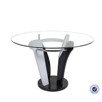 cheap modern tempered glass top marble base dining table