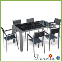 Kitchen Dining Home Used Powder Coating Tempered Glass Dining Table
