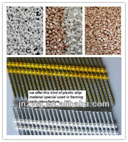 Modified PP plastic for plastic strip framing construction nails fasten