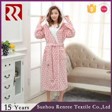 Ladies winter coral fleece robe with white borg hood