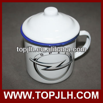 Retro style enamel mug with sublimation image
