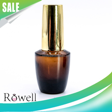 custom design 15ml amber base coat gel polish packaging 0.5oz top coat nail polish bottle with gold cap and brush