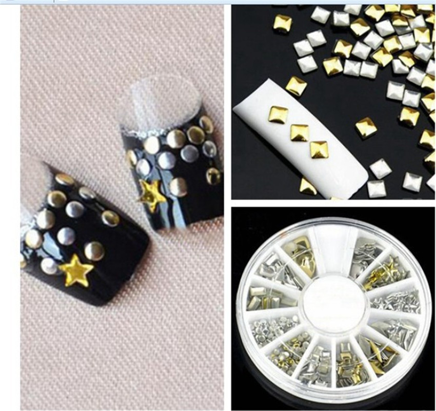 New style metal nails supplies nail art sheet copper 3d rhinestone nail art