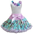 Blue Butterfly Soft Pettiskirt with Vintage Rosettes White Tank Top