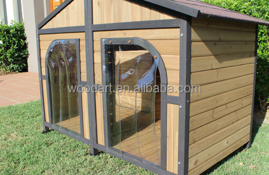 China Luxury Large Wooden Double Doors Kennel XXL Dog House With Balcony