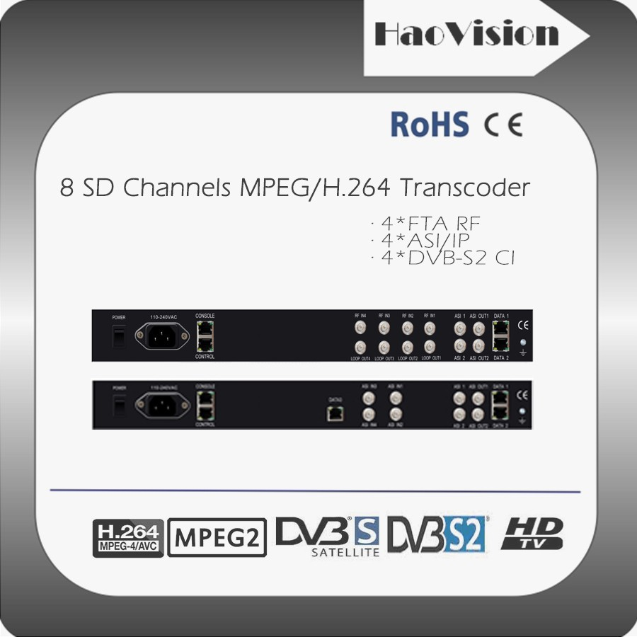 mpeg4 to mpeg2 any to any sd and hd transcoder with 4 dvb-s2 fta tuner