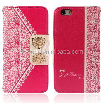 FL2543 New Fresh Cute Flip Wallet Leather Case Cover for Iphone 6 4.7''