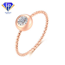 AC0003 Factory Direct Sell Oval Real 18K Solid AU750 Rose Gold Diamond Rings Jewelry