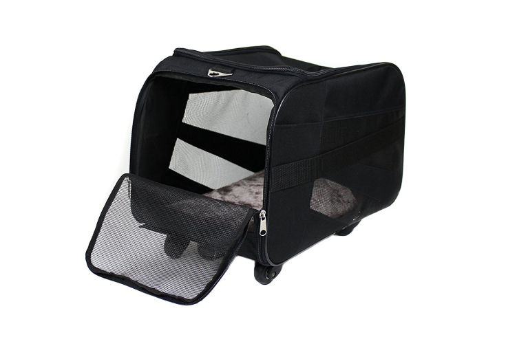 Large Black Rolling Carrier with wheels soft sided collapsible dog or cat Travel Bag