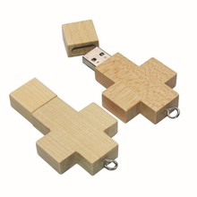 Cheap price wood usb flash drive with OEM stock price cross wood usb flash drive