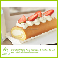 Clear Window Take Away Sweet Swiss Roll Cake Packaging Box with Handle