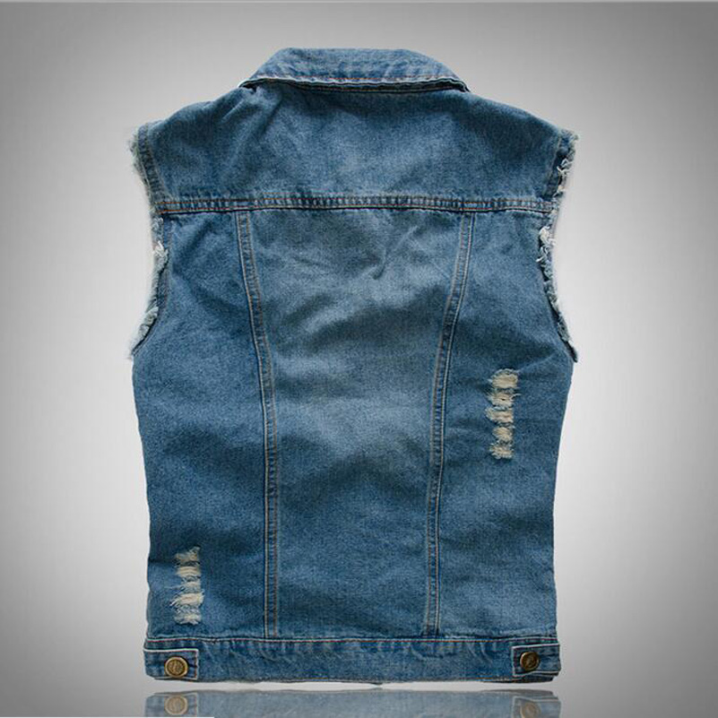 MOON BUNNY 2016 New Men's Jean Denim Vest Light Color Waistcoat Men Slim Fit Sleeveless Jacket Fashion Jeans Vests wholesale MOQ